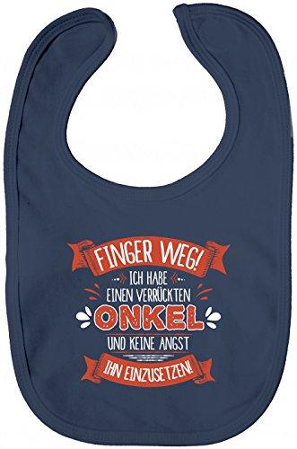Shirt Happenz Baby Spruch Onkel Lätzchen | Finger Weg | Onkel | Verrückt | Sabberlätzchen | Baby-Lätzchen, Farbe:Blau (Nautical Navy BZ12);Größe:OneSize
