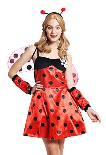 dressmeup W-0058-S/M Kostüm Damen Frauen Marienkäfer Ladybug Flotter Käfer rot schwarz Punkte Gr. S/M