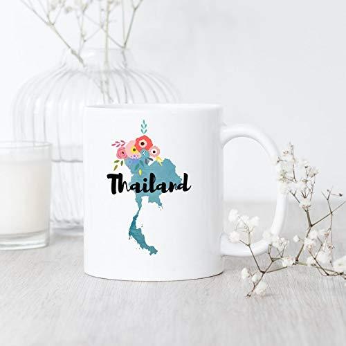 Taza de Tailandia con mapa de Tailandia Tailandia y orgullo tailandés tailandés, regalo tailandés para viaje de Tailandia