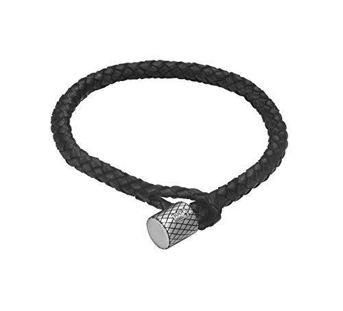 Joop! Herren-Armband JP-M Woven Lederband Edelstahl 21.5 cm-JPBR10669A215
