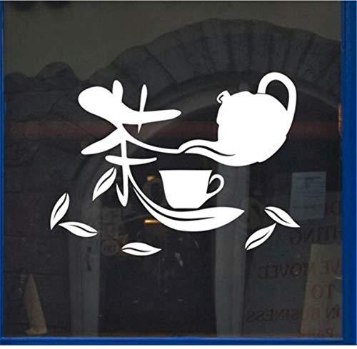 zwyluck Muursticker Chinese theepot theepot muursticker vinyl DIY muurkunst voor restaurant winkel glas decoratie 60 * 80 cm
