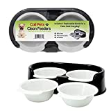 Rapid Brands Cali Pets Clean Feeder with Replacement Bowls | No-Mess Food Bowl for Cat & Small Dog | Dishwasher-Safe & BPA-Free