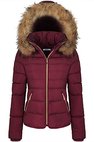 BodiLove Women's Winter Quilted Puffer Short Coat Jacket with Removable Faux Fur Hood and Zipper Burgundy L