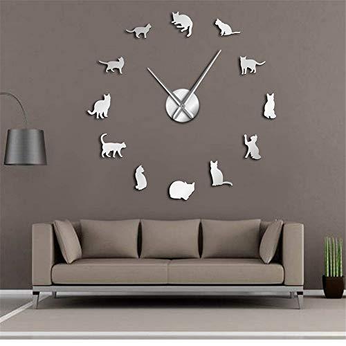 guyuell Silhouette Chats Mur Art Chatons Bricolage Géant Horloge Murale Chats Ludiques Grosse Aiguille Kitty Fille Chambre Grand Mur Regarder Félin Fan Cadeau