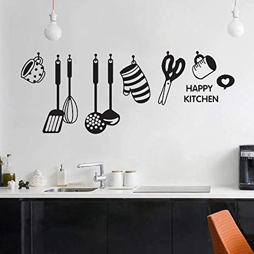 WERWN Adesivo da Parete per Cucina Design Interessante Utensili da Cucina Decorazioni per la casa Ristorante Frigorifero Adesivo da Parete in Vinile Autoadesivo