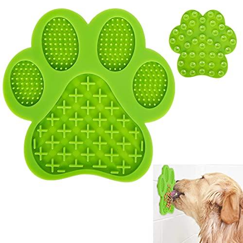 O-Kinee Hund Lecken Pad, Fußabdruck Licking Mat, Slow Feeder Leckpad, Leckmatte für Hunde, für Pflege Training, Puppy Grooming Trocknen Spielzeug mit Super Starke Saugkraft