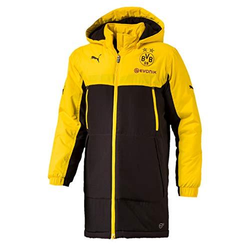 Puma BVB Bench Jacket with Sponsor, Größe:S, Farbe:Cyber Yellow-Puma Black