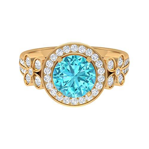 Swiss Blue Topaz Solitaire Ring, D-VSSI Moissanite Gold Ring, Art Deco Engagement Ring (8 MM Swiss Blue Topaz), 14K Yellow Gold, Size:UK G