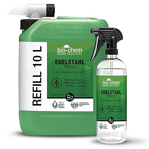 Bio-chem - Cuidado de acero inoxidable | 10,75 L Pack ahorro: bidón de 10 L + botella pulverizadora de 750 ml + grifo de drenaje, para un brillo especial en la cocina y el hogar, con efecto protector