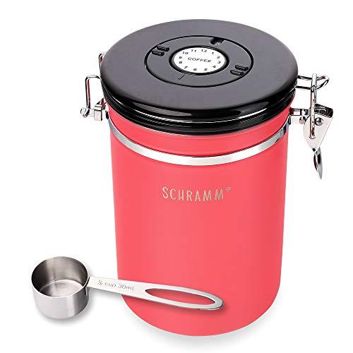 Schramm® Kaffeedose 1800 ml in 10 Farben mit Dosierlöffel Höhe: 18cm Kaffeedosen Kaffeebehälter aus Edelstahl, Farbe:Rot