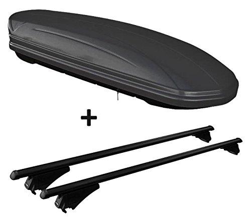 VDP Skibox schwarz matt MAA 460M 460 Liter abschließbar + Alu-Relingträger Dachgepäckträger aufliegende Reling im Set kompatibel mit Volvo XC90 ab 2014
