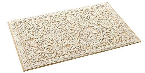 HomeLife Tappeto Cucina in Cotone Lavabile Made in Italy [60X90]   Passatoia Corridoio Moderna   Elegante Tappetino Scendiletto Casa Runner Beige e Disegno Corallo [60X90, Beige/Beige]