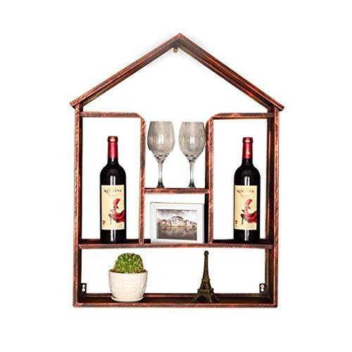 GAXQFEI Monte en la Pared Estante de Vino Estante de Viento Industrial Hierro de Viento Retro Botella de Vino Holder 2 Botellas Soporte de Botella de Vino Creativo para Barras Decoración Del Hogar (T