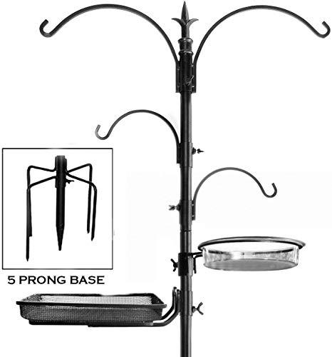 "Ashman Premium Bird Feeding Station Kit, 22"" Wide x 92"" Tall (82"" above ground height), A Multi Feeder Hanging Kit and Bird Bath For Attracting Wild Birds"