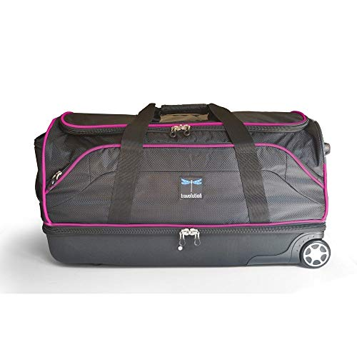 "Travolution 28"" Wheeled Drop-bottom Duffel With Garment Rack With Pink Trim, one size"