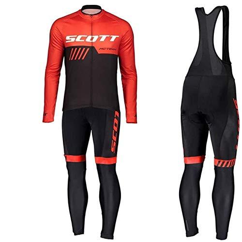 Maillot Vélo Manches Longues + Pantalon Cuissard VTT 3D Coussin Rembourré Gel A Bretelle Tenue Cyclisme Confort Homme Printemps Automne (Red,M)