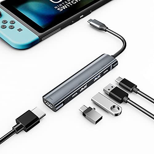 Concentrador USB C, adaptador multipuerto USB C a HDMI con conector de audio para auriculares de 3,5 mm, HDMI 4K, USB3.0, carga de suministro de energía USB C para iPad Pro 2020/2018 / iPad Air 4