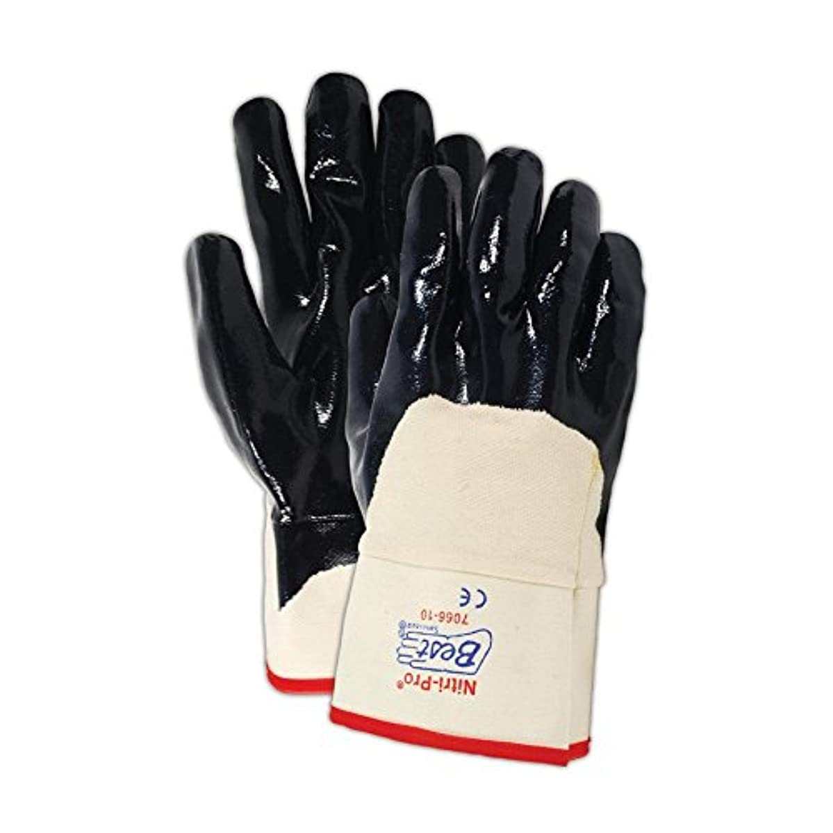 SHOWA 7066 Palm-Coated Nitrile Glove, Smooth Grip, Cotton Jersey Liner, Reinforced Safety Cuff, General Purpose Work, Large (Pack of 12 Pairs)