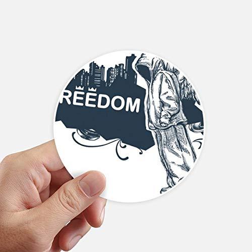 DIYthinker Hip-Hop Liberté Religion Motif Ange adhésifs Ronds de 10 cm Mur Valise pour Ordinateur Portable Motobike Decal 8Pcs diamètre 10Cm Multicolor