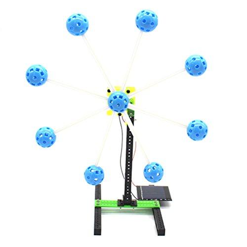YeahiBaby Rueda de Ferris de Energía Solar Bricolaje Modelo de Noria Giratoria Niños Juguetes Educativos Azul