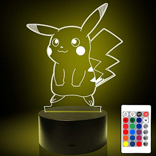 3D Illusion Lamp, Pikachu 3D Night Light with 16 Colors Changes and Touch Switch, Perfect Christmas Birthday Holiday Gift for 3/4/5/6/7 Boys Girls