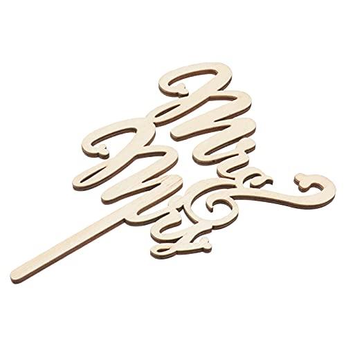 VALICLUD Piezas de Letras de Madera de MR Mrs Decoración de Tarta de Adorno de Boda para Manualidades Tarta Hecha a Mano Decoración Retro Portátil de Cumpleaños de La Boda del Festival