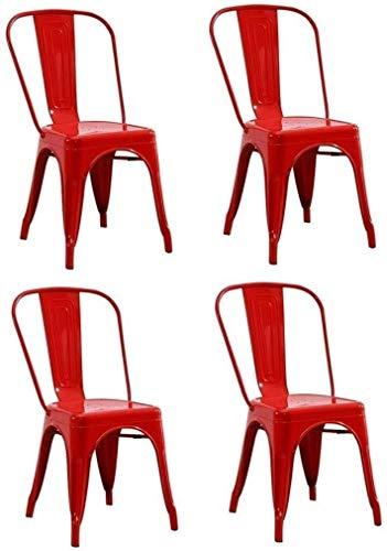 BLLXMX Sedia Red Ferro Battuto Pranzo Sedia Impilabile Industriale del Metallo Vento Cucina Sedia, for Bar Cafe Schienale contatore Sedie Sedia da Pranzo