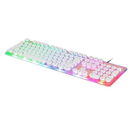 funmoon Clavier USB Filaire Desktop Gaming Keyboard 104Keys Rétro-Éclairé LED Abattage Mécanique Retro Punk Ordinateur Portable Gamer Rose
