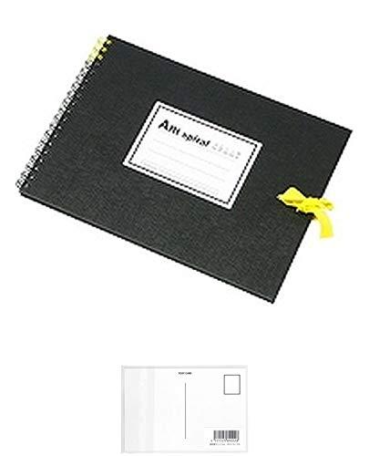 マルマン スケッチブック アートスパイラル F1 厚口画用紙 24枚 ブラック S311-05 + 画材屋ドットコム ポストカードA