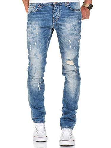 Amaci&Sons Herren Strech Destroyed Slim Fit Denim Jeans Hose 7500 Hellblau W38/L30