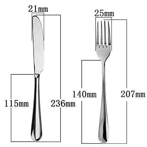 AOOSY ステーキフォーク&ステーキナイフ 4点2セット 18-10ステンレス製一体ナイフ2本 一体フォーク2本 食洗機可 105g肉厚ディナーナイフ 63g高品質ディナーフォーク18-10ステンレス 洋食 フランス料理(4点2セット)