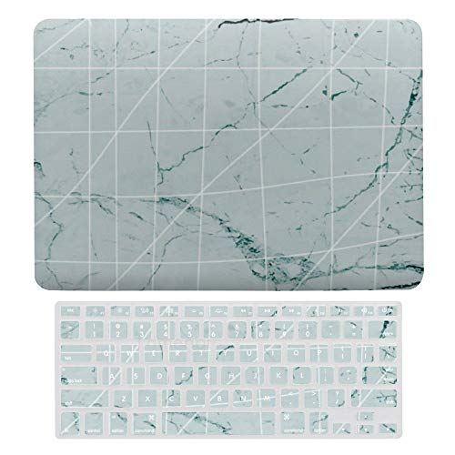 Laptop Screen Case for MacBook Air 13 & New Pro 13 Touch, Marble Lattice Pattern Keyboard Cover Screen Protector Shell Set