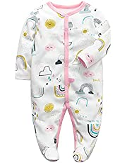 Bebé Mamelucos Monos con Pies Pijama Manga Larga Peleles Algodón Onesies Sleepsuit Ropa Niñas Niños Trajes 0-12 meses