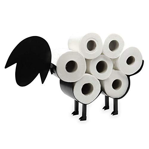 XRTJ Negro Metal Oveja Portarrollos Papel Vertical No es Necesario perforar con el Estante Separado para Cocina de baño