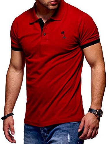 behype. Herren Kurzarm Basic Kontrast Polo-Shirt 20-0337 Rot XL