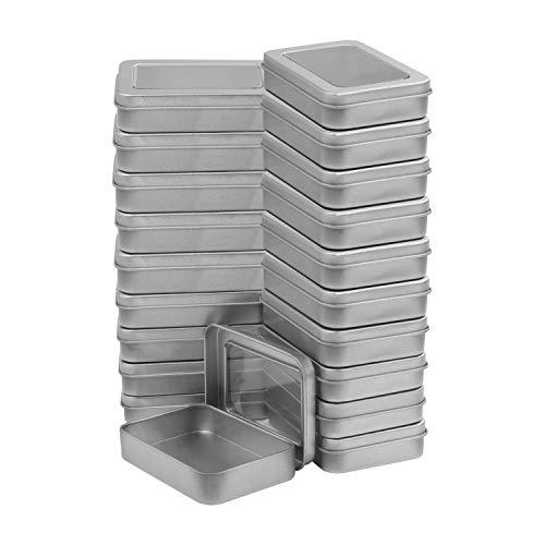 Kurtzy Cajitas de Metal Plateado con Tapa (Pack de 20) 9 x 6,3 x 1,8cm – Set Cajas de Regalo Pequeñas de Metal y Portátil sin Bisagra Contenedor Vacío Mini Rectángulo Kit Sobrevivencia y Manualidades