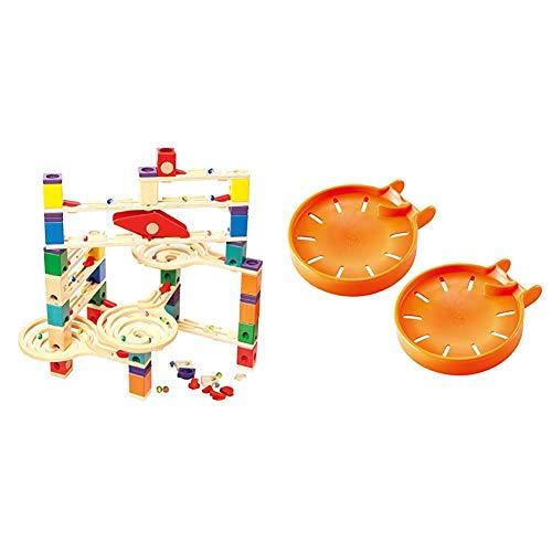 Hape E6009 - Quadrilla Vertigo, Kugelbahn, Konstruktionsspielzeug, aus Holz, ab 4 Jahren & E6030 - Murmel-Stopp Doppelpack, Zubehör für Quadrilla Kugelbahnen, ab 4 Jahren, orange