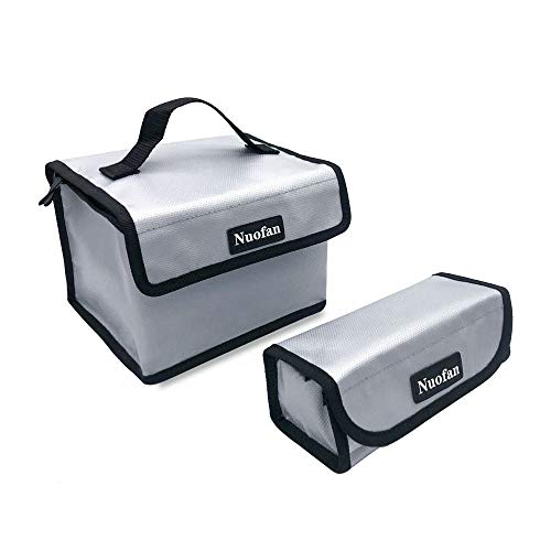 Nuofan 2Packs Lipo a Prueba de explosiones Bolsa Segura Lipo Guardia de la batería Bolsa de Bolsa Segura para Almacenamiento y Carga de la batería Lipo