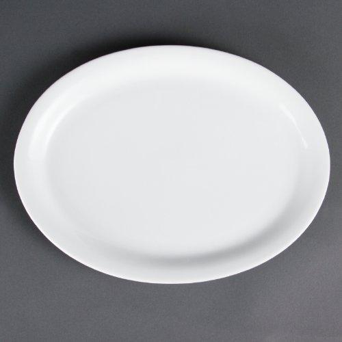 Olympia Whiteware Lot de 6 plateaux ovales en porcelaine 295 mm Passe au congélateur