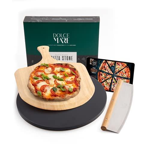 DOLCE MARE Pizzastein schwarz & rund im Set inkl. Holz-Pizzaschieber & Pizzaschneider - Backstein aus hochwertigem Cordierit für Backofen & Grill - Backstein für knusprige, italienische Pizza