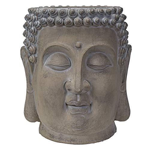 Pacific Giftware Decorative Large Zen Buddha Head Resin Planter Pot Rustic Patina Eastern Enlightenment Zen Garden Indoor Outdoor (19.5' L x 17' L x 18' H)