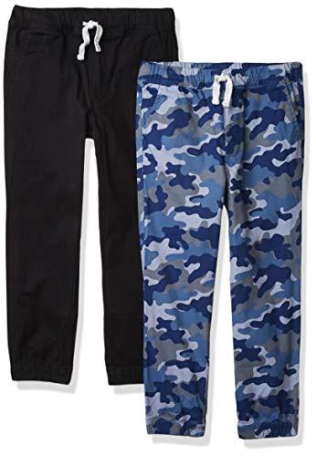 Amazon Essentials Pull-on Woven Jogger Pants, 2 Stück Blau Camo/Schwarz, EU 116 cm