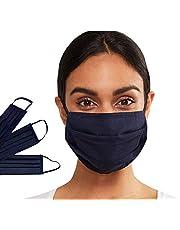 Ansiktsmask tvättbar 2 lager 100 % bomull unisex mode ansiktsskydd återanvändbara masker för vuxna, män och kvinnor (marinblå, en storlek)