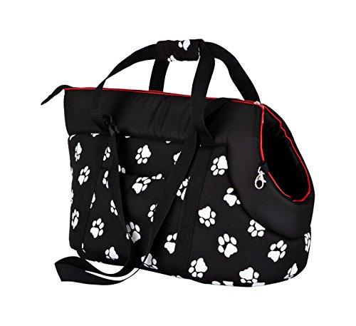 Hobbydog TORCWL3 - Borsa da gatti/piccoli cani, Nero con zampe, 22x 20x 36cm