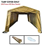 kdgarden Replacement Top Cover for 10x20-Feet 10 Legs Carport Canopy, Garage Tent Storage Shelter Tarp Cover with Ropes, Khaki