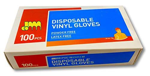 Vinyl Handschuhe [ Größe S ] [ 100 Stück ] [ weiß/Natur ] [ in praktischer Spendebox ] Hygienehandschuhe Plastikhandschuhe Folienhandschuhe Reinigungshandschuh Putzhandschuhe Gummihandschuh