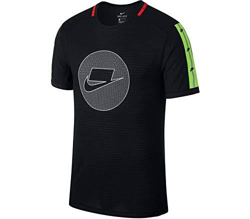 NIKE M NK Wild Run Top SS Camiseta, Hombre, Negro, Verde, Marfil, XX-Large