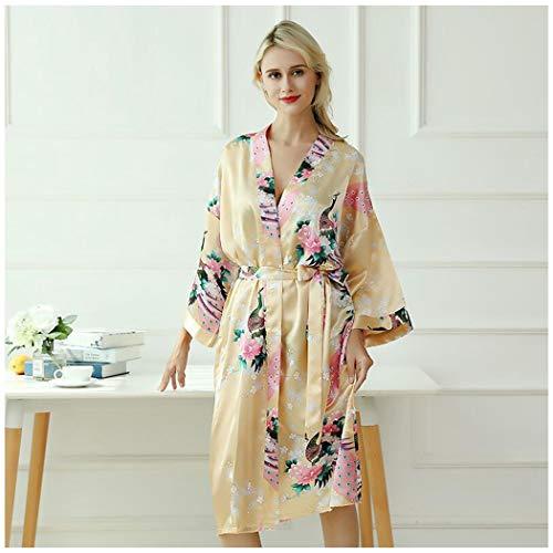 AXIANQIPJS Damen 100% Seide Satin Kimono Morgenmantel Peacock Kimono Schlafanzüge for Frauen Hochzeit des Mädchens Bonding Party Pyjamas 120cm Lang (Color : H, Size : M)