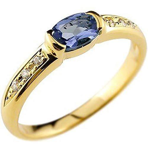 [アトラス]Atrus リング レディース 18金 イエローゴールドk18 アイオライト ダイヤモンド 指輪 ストレート 宝石 ピンキーリング 2号