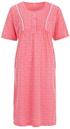 Zeitlos Lucky Nachthemd Damen Kurzarm Schmetterling Spitze Knöpfe, Farbe:pink, Größe:M